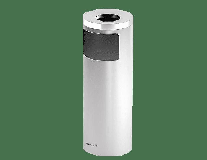 سطل زباله استيل با جا سيگاری - 20 ليتری سفید